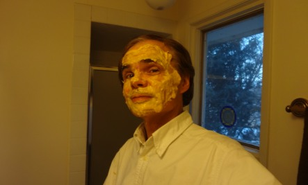 with mask standing Randys Homemade Mango Mud Mask